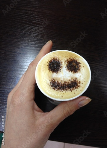 cup of cappuccino with smile