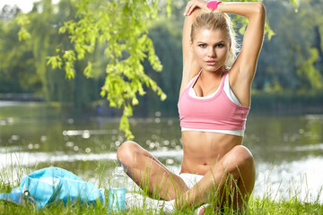 Fitness Model . Spring outdoor training