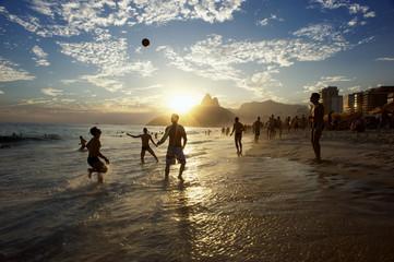 Silhouettes of Carioca Brazilians Playing Altinho Beach Football