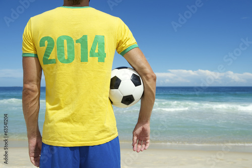 Brazilian Soccer Player Holding Football Brazil Beach