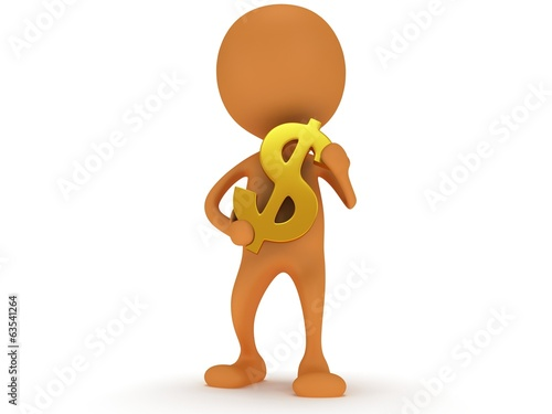 3d orange man carry dollar sign
