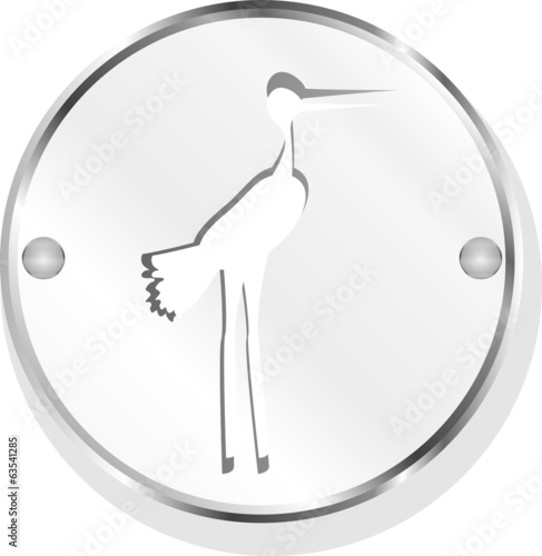 Stork on web icon button isolated on white