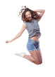 Young woman is jumping