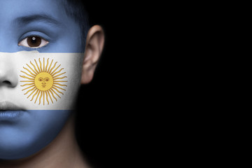 Human face painted with flag of Argentina