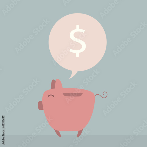 Piggy bank cartoon character thinks about saving money