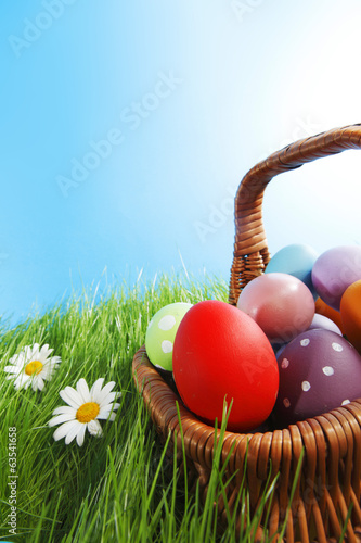 canvas print picture Basket of easter eggs
