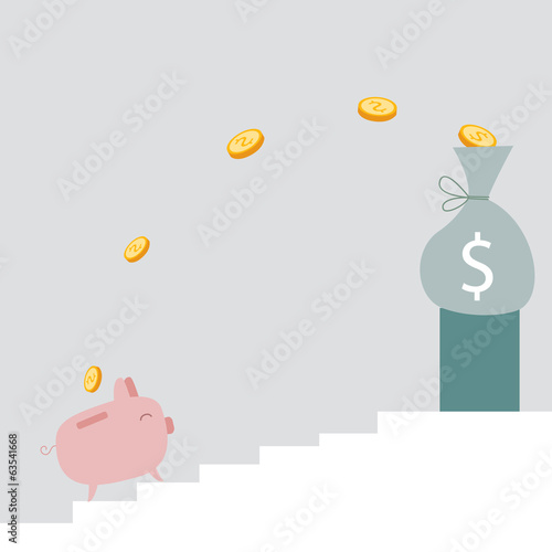 Piggy bank going up the ladder to big amount of money
