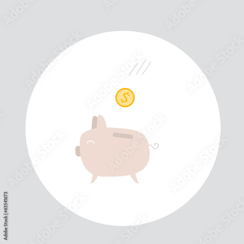 Piggy bank with coins money. Cute cartoon style