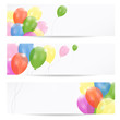 birthday banners, invitations with party balloons, vector