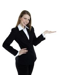 Business woman presenting something on the right side