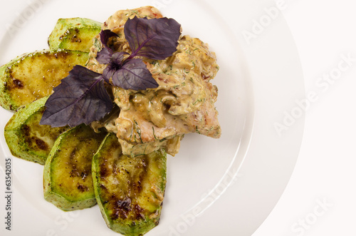 tasty dish zucchini with meat