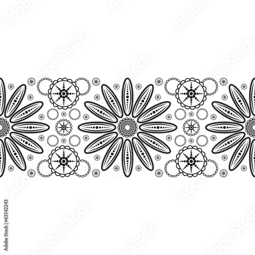 Seamless ribbon with abstract flower