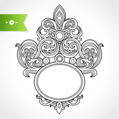 Vintage ornate frame with place for your text. Victorian decor.