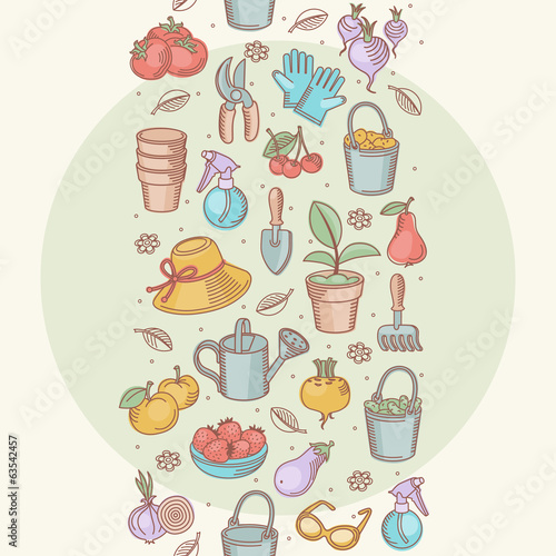 Vector seamless border of garden tools, vegetables and fruits.