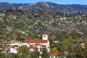 White Adobe Methodist Church Houses Santa Barbara California