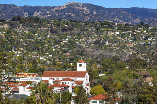 White Adobe Methodist Church Houses Santa Barbara California