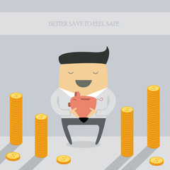 Businessman saving money in a piggy bank