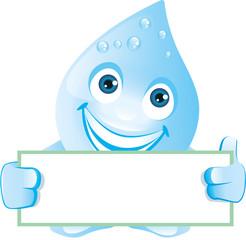 Lachender Wassertropfen zeigt leeres Schild