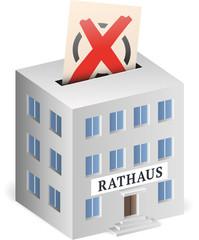 Rathaus als Wahlurne mit Wahlzettel