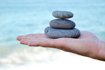 Zen stones with hand