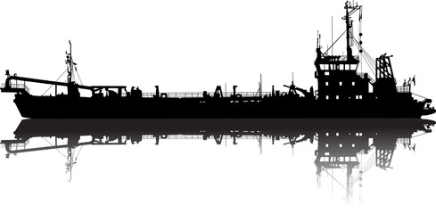 Vector illustration of silhouette of the sea cargo ship