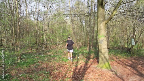 Man running in the forrest