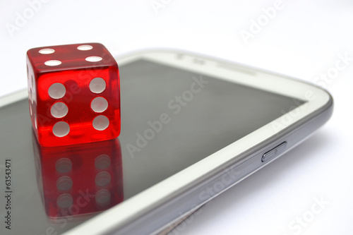 Red dice and mobile phone