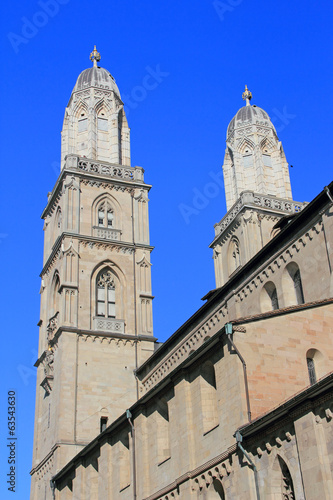 canvas print picture grossmünster in zuerich schweiz