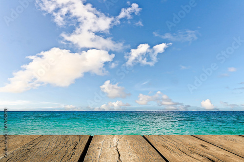Beauty seascape under blue clouds sky. View from pier