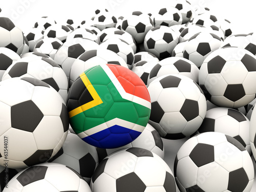 Football with flag of south africa