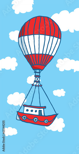 Hot air balloon boat flying to adventure