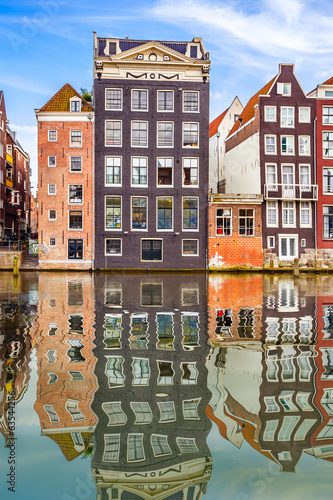 canvas print picture Old buildings in Amsterdam