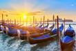 Venetian gondolas at sunrise