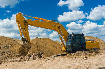 Construction scenery - excavator in trench