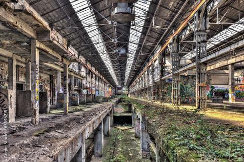 Staande foto Industrial geb. Interior of a derelict industrial building