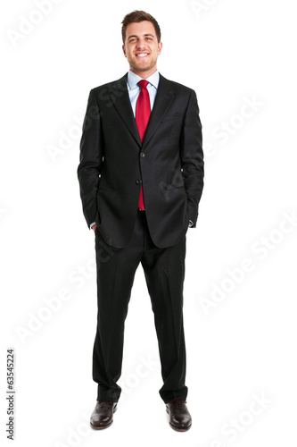 Young businessman full length isolated on white