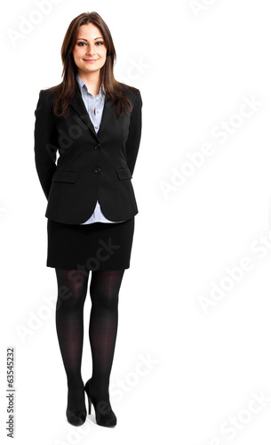 Smiling full length businesswoman