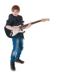 Handsome boy with electric guitar