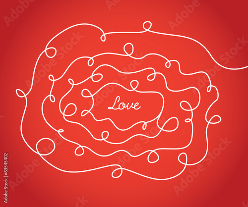 Love valentine sign with scribbled texture