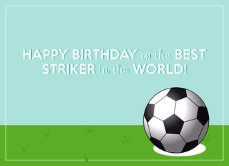 birthday greeting card with ball on soccer field and clear sky