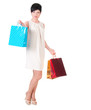Brunette woman in  dress with shopping bags posing