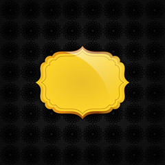 Black abstract texture and golden badge