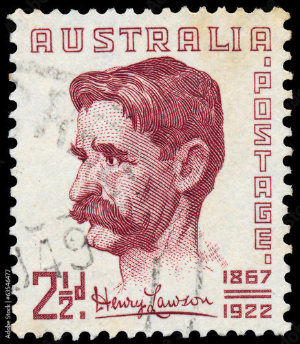 A stamp printed in Australia shows Henry Lawson