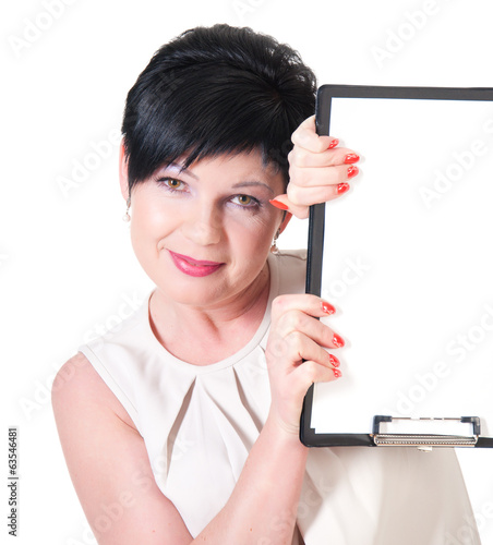 smiling business woman with blank