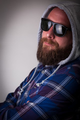 Real guy with beard and sunglasses