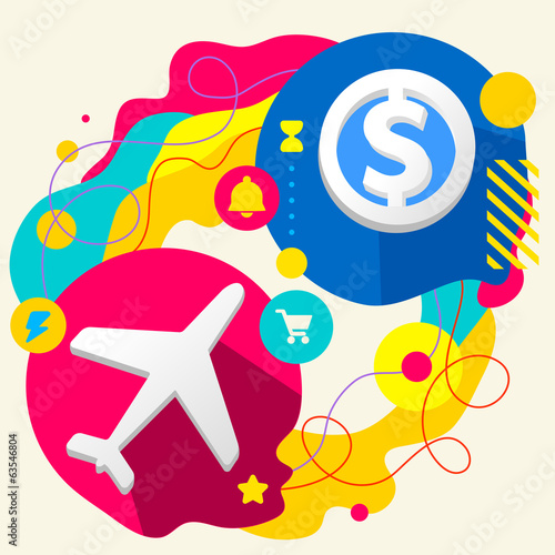 Plane and dollar sign on abstract colorful splashes background w