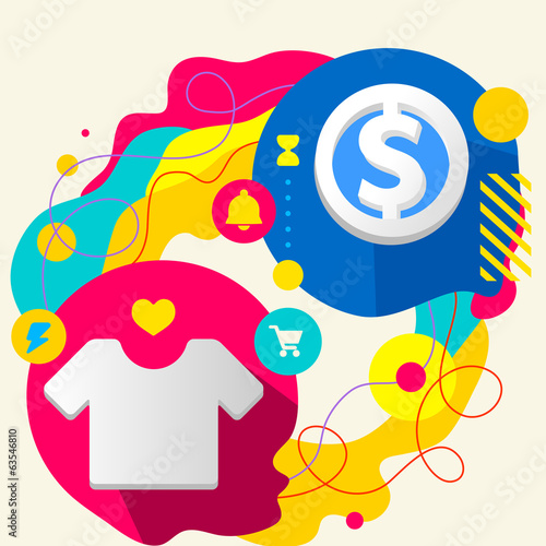 T shirt and dollar sign on abstract colorful splashes background