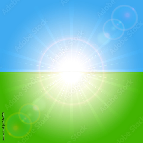 Green and blue sunny background