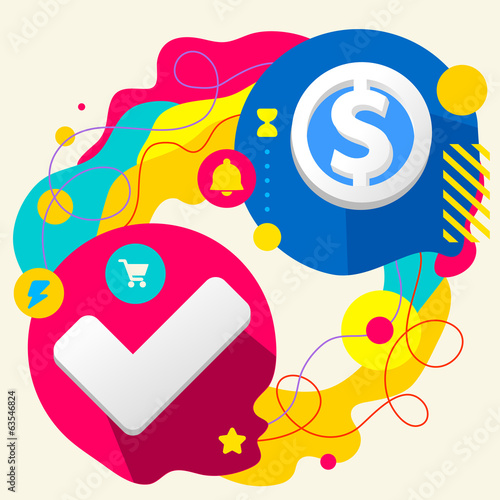 Tick and dollar sign on abstract colorful splashes background wi
