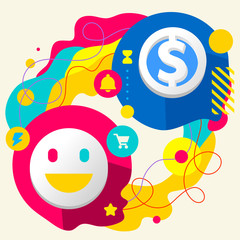 Smile and dollar sign on abstract colorful splashes background w